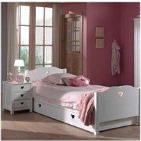 Chambre complète Maisonetstyles Lit avec tiroir + chevet + armoire 2 portes en pin blanc - amorena
