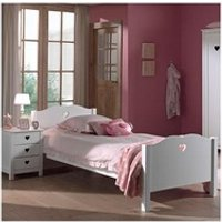 Chambre complète Maisonetstyles Lit 90x200 cm + chevet et armoire en pin blanc - amorena