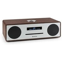 Chaine HiFi Auna Stanford Radio lecteur CD DAB DAB+ Bluetooth USB MP3 AUX FM marron