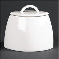Café et thé Materiel Chr Pro Sucriers ovales en porcelaine fine avec couvercles lumina _ lot de 6 -