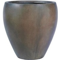 Carré potager Icaverne Jardiniere - bac a fleur pot rond bombé lisse - 28,5 x 28,5 x 30 cm - marron glace