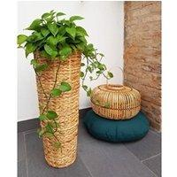 Carré potager Icaverne Jardiniere - bac a fleur pot de fleur rond en jacinthe d'eau tressée - 28 x 28 x 70 cm - marron naturel clair