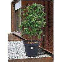 Carré potager Icaverne Jardiniere - bac a fleur pot de fleur rond grandé - ø 58 x h 51,5 cm - 90 l - gris anthracite