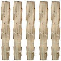 Clôture GENERIQUE Icaverne - panneaux de clôture distingué clôture en treillis 5 pcs bois solide 180x90 cm
