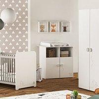 Chambre complète Maisonetstyles Ensemble lit bébé + commode + armoire blanc et gris - catsy
