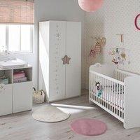 Chambre complète Maisonetstyles Ensemble lit bébé + commode + armoire blanc et gris - stella