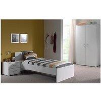 Chambre complète Maisonetstyles Ensemble lit 90x200 cm, armoire et chevet blanc - angelo
