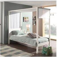 Chambre complète Maisonetstyles Lit à baldaquin 90x200 cm blanc et voile blanc - pino