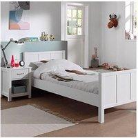 Chambre complète Maisonetstyles Ensemble lit 90x200 cm et chevet laqué blanc - abigael