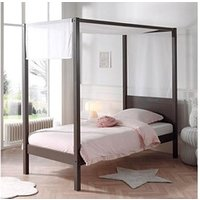 Chambre complète Maisonetstyles Lit à baldaquin 90x200 cm taupe et voile blanc - pino