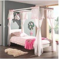 Chambre complète Maisonetstyles Lit à baldaquin 90x200 cm blanc et voile rose - pino