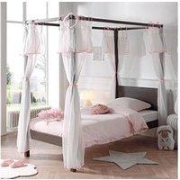 Chambre complète Maisonetstyles Lit à baldaquin 90x200 cm taupe et voile rose - pino