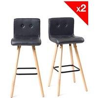 Tabouret (ANCIENNE FAMILLE 2017-09-29 13:42:20.96) Kayelles Lot de 2 chaises de bar scandinave bois - siwa (noir)