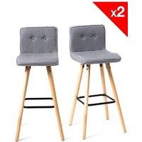 Tabouret (ANCIENNE FAMILLE 2017-09-29 13:42:20.96) Kayelles Lot de 2 chaises de bar scandinave bois - siwa (gris tissu)