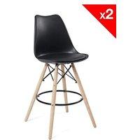 Tabouret (ANCIENNE FAMILLE 2017-09-29 13:42:20.96) Kayelles Lot de 2 chaises de bar scandinaves - tabouret de bar nasa (noir)