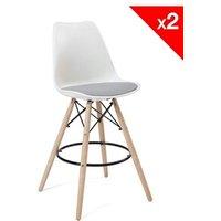 Tabouret (ANCIENNE FAMILLE 2017-09-29 13:42:20.96) Kayelles Lot de 2 chaises de bar scandinaves - tabouret de bar nasa (blanc-gris)