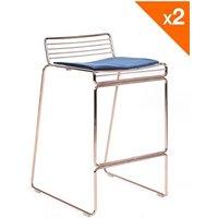 Tabouret (ANCIENNE FAMILLE 2017-09-29 13:42:20.96) Kayelles Lot de 2 chaises de bar design métal - coussin en velours rosso (or rose)