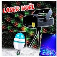 Jeux de lumière autonome Lyt-or Projecteur laser noël intèrieur rouge et vert multipoints au rythme de la musique + ampoule e27 diams rvb led