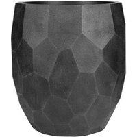 Carré potager Icaverne Jardiniere - bac a fleur pot boule a facettes lisse - 50 x 50 x 55 cm - noir