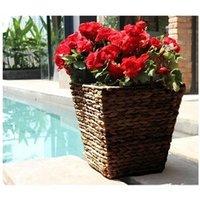 Carré potager Icaverne Jardiniere - bac a fleur pot de fleur carré en jacinthe d'eau tressée - 28 x 28 x 30 cm - marron naturel foncé