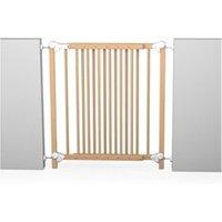 Barrière de sécurité bébé Icaverne Barriere de securite bebe barriere de sécurité enfant amovible et portillon - 73-110 cm - bois naturel vernis