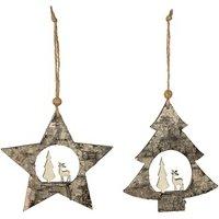 Décoration de noël Féérie Lights&christmas 2 décorations pour sapin de noël en bois - marron