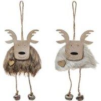 Décoration de noël Féérie Lights&christmas 2 déco pour sapin de noël en bois renne grelots
