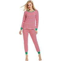 Décoration de noël Avidlove Femmes noël style manches longues rayé pyjamas ensemble rouge taille xl
