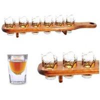 Boisson énergisante Euroweb Plateau de service avec 6 verres à shot - shooters bois liqueur alcool