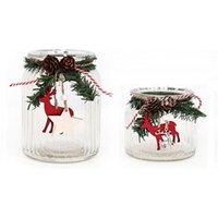 Décoration de noël Heart Of The Home 2 lumignons de noël en verre forest tradi - rouge