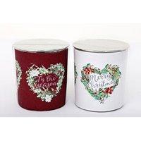 Décoration de noël Heart Of The Home 2 bougies de noël en pot tradi - rouge et blanc