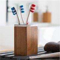 Objet de décoration Euroweb Support pour 4 brosses à dents fabriqué en bambou - rangement salle de bain en bois
