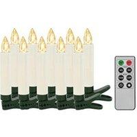 Décoration de noël GENERIQUE Icaverne - présentoirs et supports pour décorations de noël inedit bougies led sans fil avec télécommande 10 pcs blanc chaud