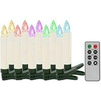 Décoration de noël GENERIQUE Icaverne - présentoirs et supports pour décorations de noël sublime bougies led sans fil de noël avec télécommande 10 pcs rvb