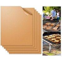 Accessoire barbecue et plancha Justgreenbox Tapis à griller antiadhésif pour le barbecue doublures de cuisson pour le barbecue feuilles de cuisson réutilisables plaque à pâtisserie en ptfe