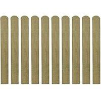 Clôture GENERIQUE Icaverne - piquets de clôture distingué lattes imprégnées de clôture 10 pcs bois 80 cm