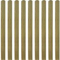 Clôture GENERIQUE Icaverne - piquets de clôture admirable lattes imprégnées de clôture 10 pcs bois 120 cm