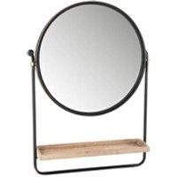 Objet de décoration Bois Dessus Bois Dessous Miroir en rond en métal avec étagère en bois