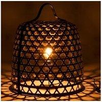 Objet de décoration Bois Dessus Bois Dessous Lampe à poser en bambou noir et métal