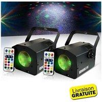 Jeux de lumière autonome HQPOWER Pack 2 jeux de lumières sono dj faisceaux multicolores flower burst rgb - led 9w + télécommande