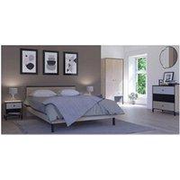 Chambre complète Tousmesmeubles Chambre adulte complète (160*200) chêne noisette - hazelnut - l 166 x l 204 x h 80 - neuf