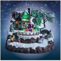 Décoration de noël Féerie Lights Et Christmas Village de noël père noël animé, musical et lumineux
