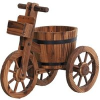 Carré potager Outsunny Porte plante tricycle - étagère de pots de fleurs - jardinière dim. 52l x 31l x 45h cm - bois de sapin
