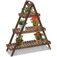 Carré potager Outsunny Etagère à fleurs pyramidale en bois - porte plante bois 3 étagères - dim. 86l x 28l x 100h cm - bois massif de sapin foncé