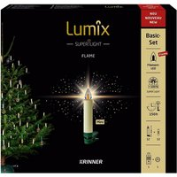 Christbaumkerzen Lumix Superlight Flame mini, Elfenbein, 12er