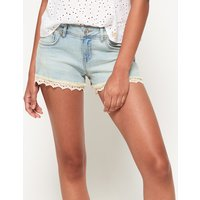 Superdry Lace Trim Denim Hot Shorts