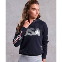 Superdry Gym Tech USA Crop Hoodie