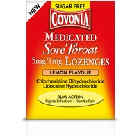 Covonia Medicated Sore Throat 5mg 1mg Lozenges Lemon Flavour