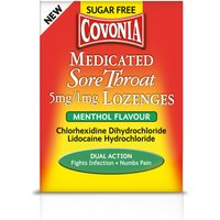 Covonia Medicated Sore Throat 5mg 1mg Lozenges Menthol Flavour