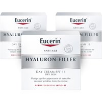 Eucerin Hyaluron Filler Day Cream for Dry Skin SPF15   3 Pack